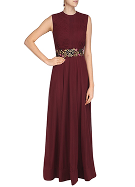 Maroon Georgette Anarkali Gown