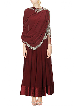 Maroon Georgette Anarkali Gown