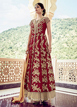 Maroon Georgette Long Choli Umbrella Lehenga