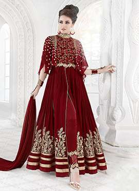 Maroon Georgette Net Anarkali Suit