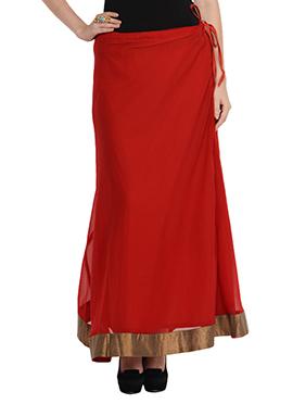 Maroon Georgette Skirt