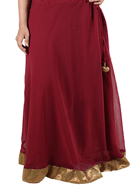 Maroon Georgette Skirt