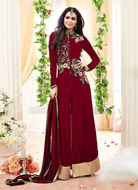 Maroon Georgette Straight Pant Suit