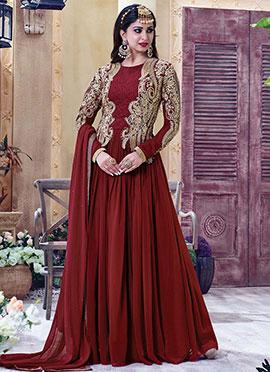 Maroon Gerogette Anarkali Suit