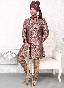 Maroon Indowestern Sherwani
