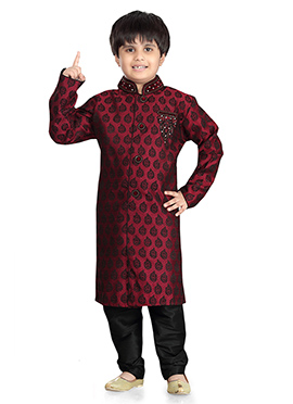 Maroon Jacquard Art Silk Kids Kurta Pyjama