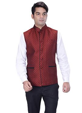 Maroon Jacquard Nehru Jacket