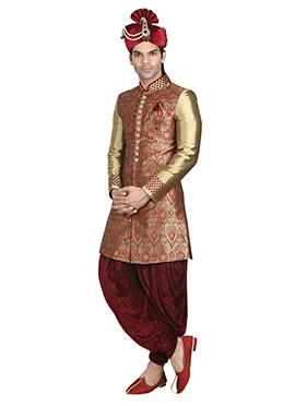 Maroon Jacquard Patiala Style Sherwani