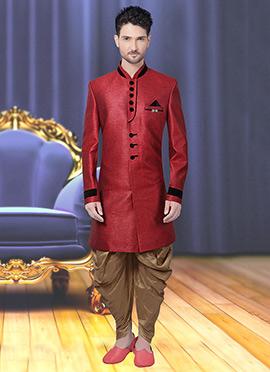 Maroon Jute Achkan Sherwani