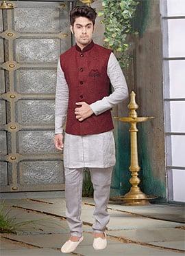 Maroon Jute Nehru Jacket