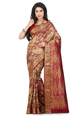 Maroon Kancheepuram Art Silk Saree