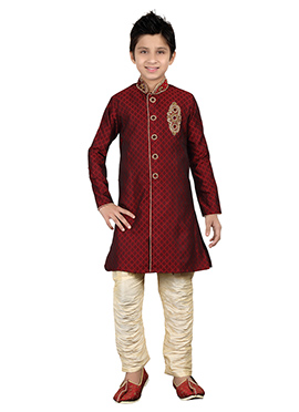 Maroon Kids Breeches Style Sherwani