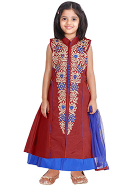 Maroon kids Long Choli Lehenga