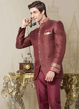 Maroon Linen Bandhgala Suit