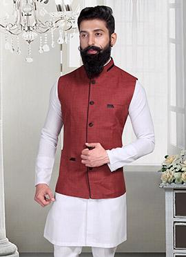 Maroon Linen Nehru Jacket