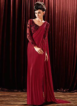 Maroon Lycra Saree Gown