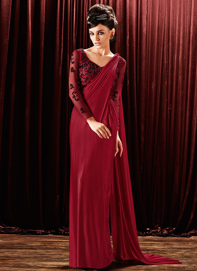 Buy Maroon Lycra Saree Gown, Party, dresses and gown Online Shopping ...