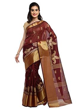 Maroon Mysore Blended Cotton Saree