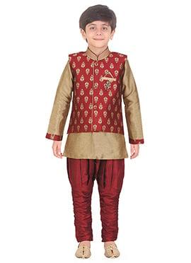 Maroon N Beige Art Silk Kids Bandi Set