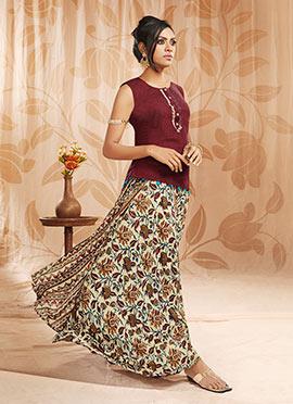 Maroon N Beige Art Silk Skirt Set