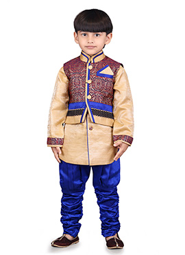 Maroon N Beige Jacquard Kids Bandi Set