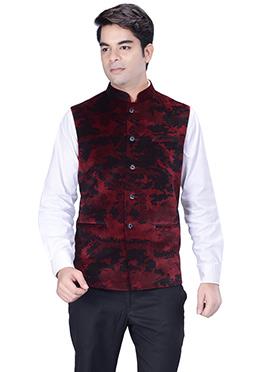 Maroon N Black Velvet Nehru Jacket