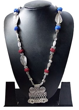 Maroon N Blue Necklace