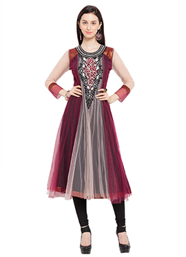 Maroon N Cream Net Embroidered Anarkali Kurti