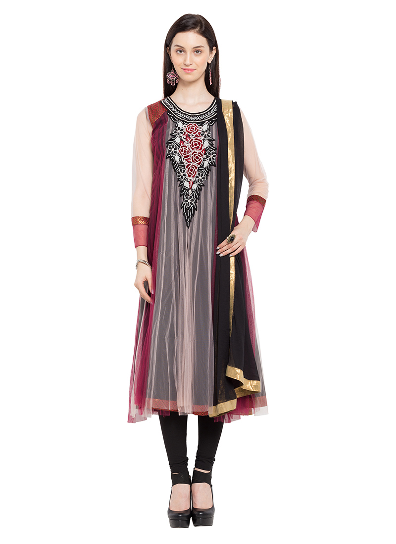 5624e08404 Buy Maroon N Cream Net Embroidered Anarkali Suit, Embroidered ...