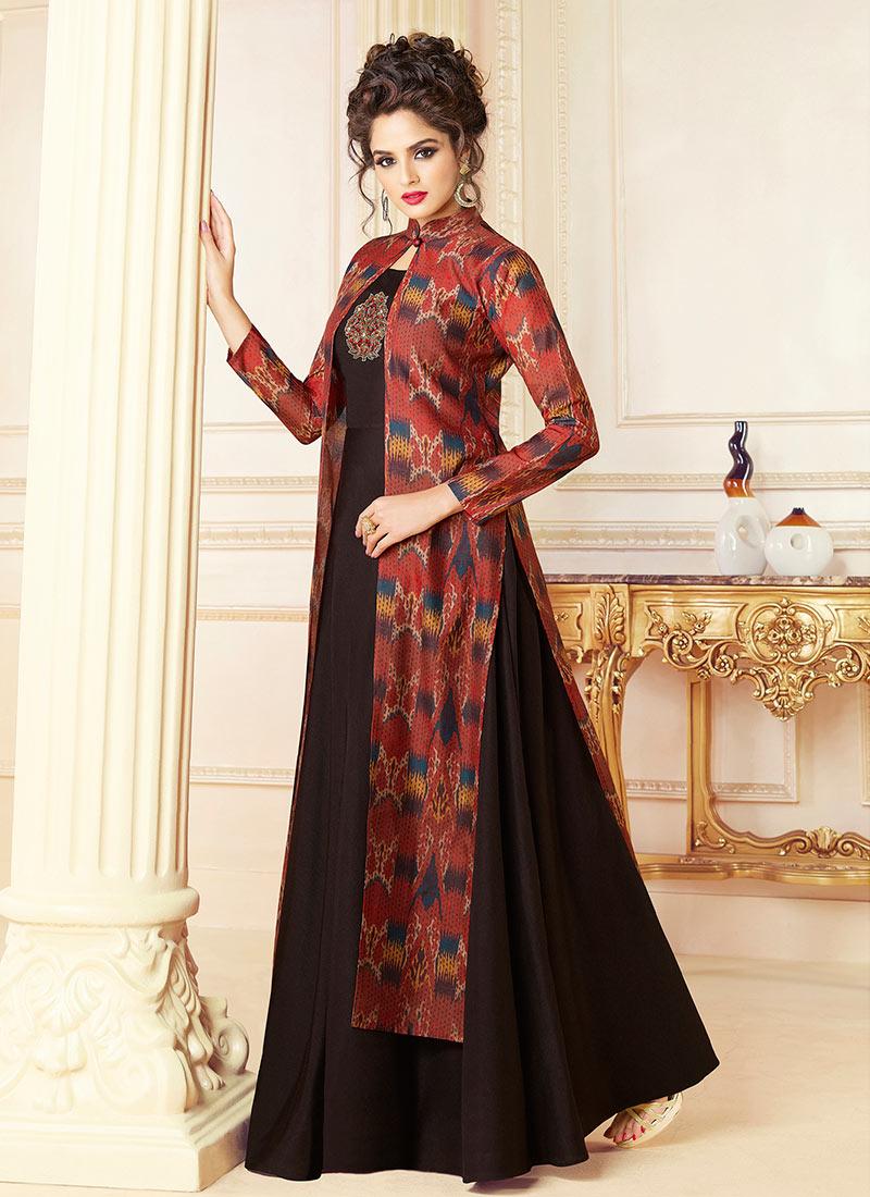 Maroon N Dark Brown Printed Anarkali Gown