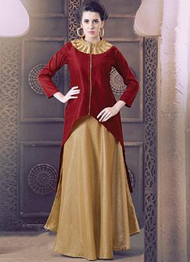 Maroon N Gold Silk N Georgette Skirt Set