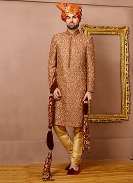 Maroon N golden Benarasi Silk Achkan Sherwani