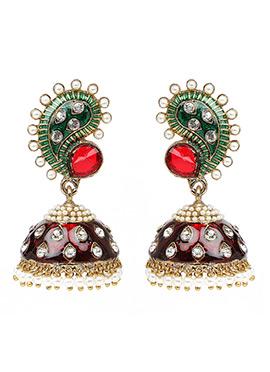 Maroon N Green Jhumka Earring