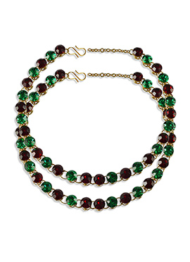 Maroon N Green Stone Studded Anklets