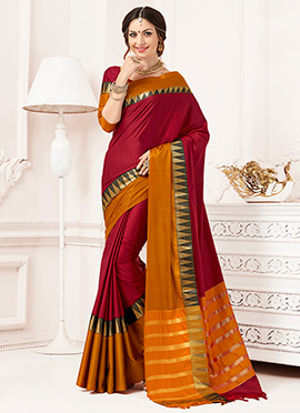 Maroon N Light Brown Art Silk Saree