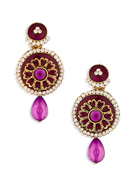 Maroon N Magenta Pink Stone Studded Drop Earrings