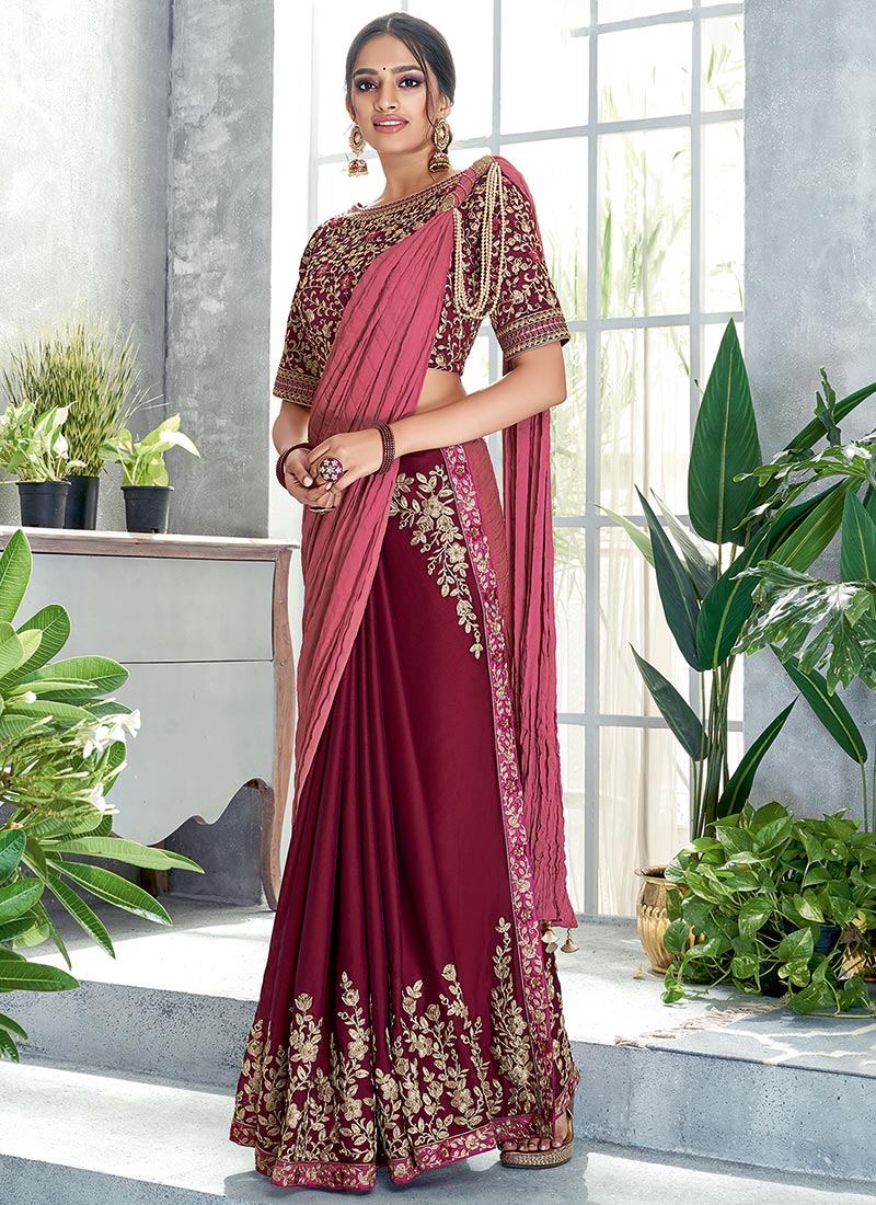 Indian Traditional Maroon Art Silk Readymade Blouse Choli Top Tunic Stitched For Women Wedding Wear Party Wear Festive Wear Designer Blouse