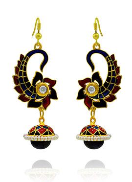 Maroon N Navy Blue Meenakari Dangler Earring