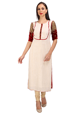 Maroon N Off White Cotton Silk Kurti