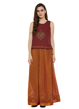 Maroon N Orange Cotton Skirt Set
