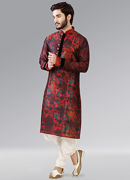 Maroon N Red Art Silk Kurta Pyjama