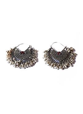 Maroon N Silver Chaand Bali Earrings