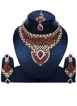 Maroon N White Zircon Stone Necklace Set
