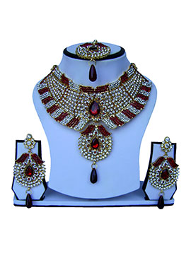 Maroon N White Zircon Stone Necklace Set