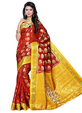 Maroon N Yellow Art Silk Saree