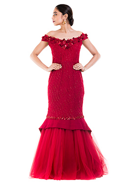 Maroon Off Shoulder Mermaid Gown