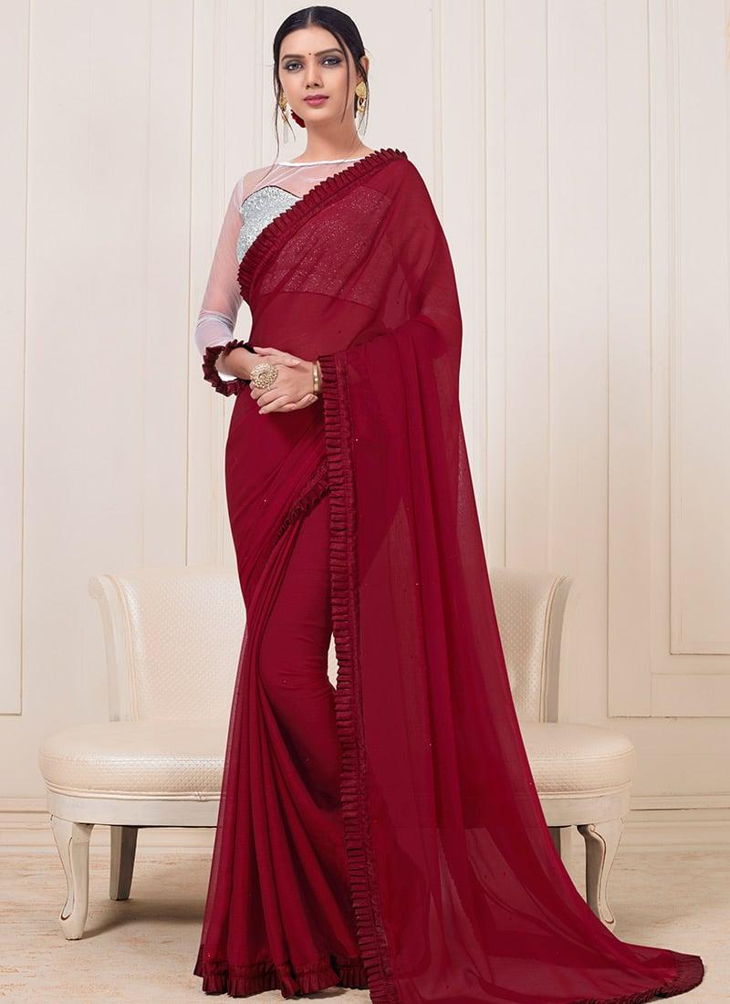 43b645df90 Buy Maroon Plain Border Saree, Party, sari Online Shopping ...