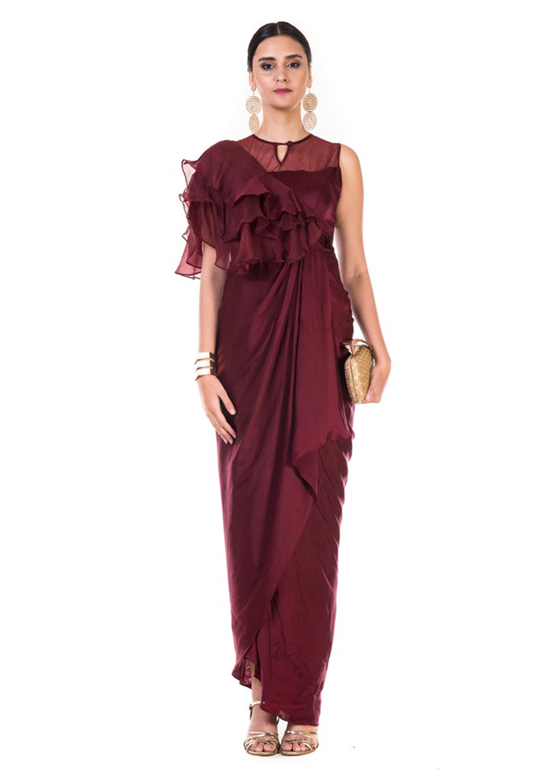 Buy Maroon Plain Draped Gown, Party, dresses and gown Online ...