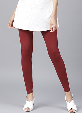 Maroon Plain Leggings