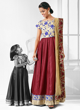 Maroon Poly Silk Mother Daughter Combo
